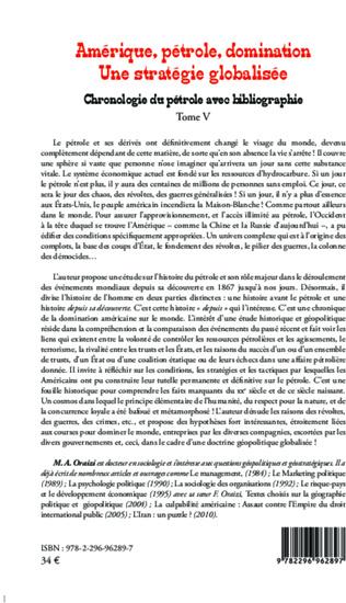 4eme Amérique, pétrole, domination : une stratégie globalisée (T.5)