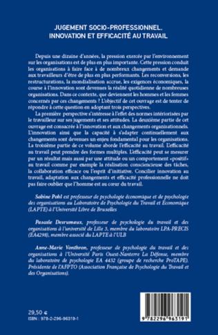 4eme Jugement socio-professionnel, innovation et efficacité au travail