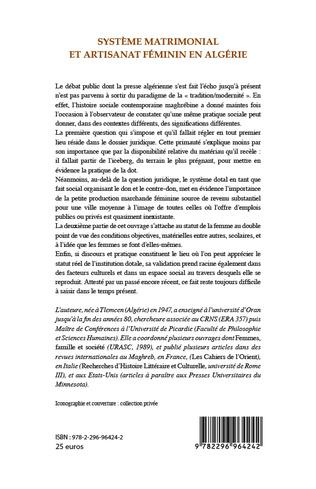 4eme Système matrimonial et artisanat féminin en Algérie