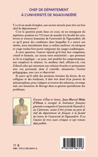 4eme Chef de département à l'université de Ngaoundéré
