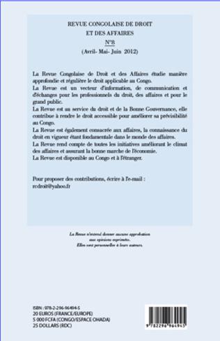 4eme Revue congolaise de droit et des affaires 8