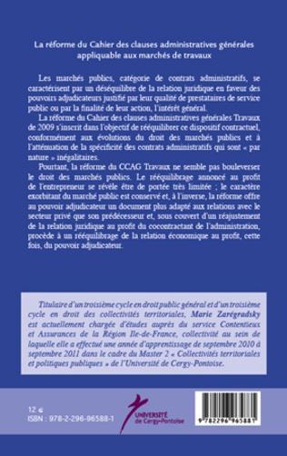 4eme La réforme du Cahier des clauses administratives générales appliquable aux marchés de travaux