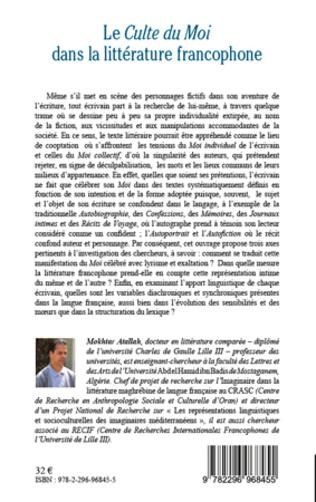 4eme Le <em>Culte du Moi</em> dans la littérature francophone