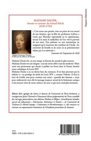 4eme Madame Dacier, femme et savante du Grand Siècle
