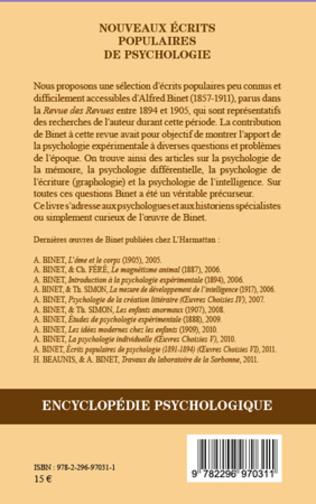 4eme Nouveaux écrits populaires de psychologie
