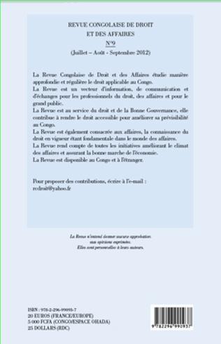 4eme Revue congolaise de droit et des affaires n°9