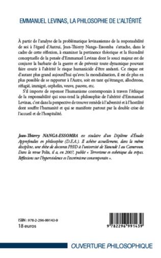 4eme Emmanuel Levinas, la Philosophie de l'Altérité