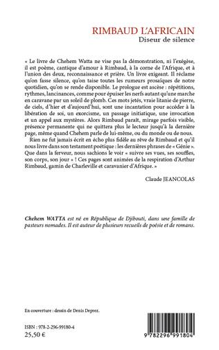 Rimbaud Lafricain Diseur De Silence Poésie Chehem Watta