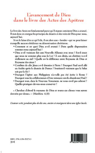 4eme L'avancement de Dieu dans le livre des Actes des Apôtres