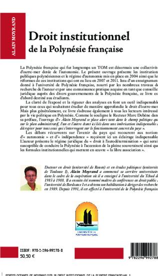 4eme Droit institutionnel de la Polynésie française (2e édition)