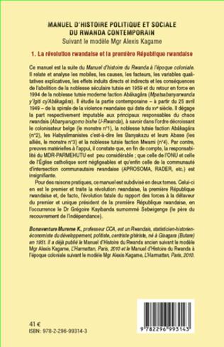 4eme Manuel d'histoire politique et sociale du Rwanda contemporain (Tome 1)