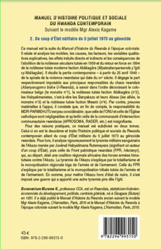 4eme Manuel d'histoire politique et sociale du Rwanda contemporain (Tome 2)