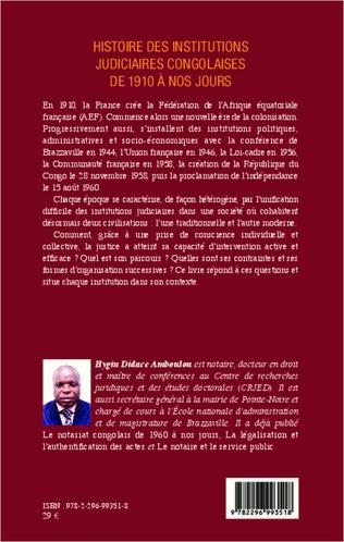 4eme Histoire des institutions judiciaires congolaises de 1910 à nos jours