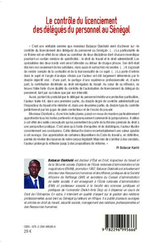 4eme Le contrôle du licenciement des délégués du personnel au Sénégal