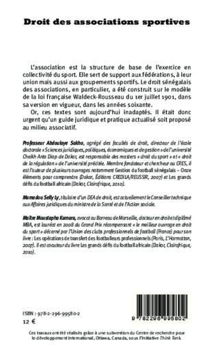 4eme Droit des associations sportives. En l'honneur de Lamine Diack