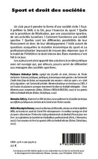 4eme Sport et droit des sociétés. En l'honneur de Lamine Diack