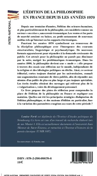 4eme L'édition de la philosophie en France depuis les années 1970