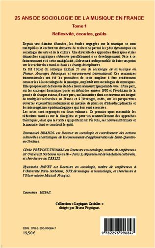 4eme 25 ans de sociologie de la musique en France (Tome 1)