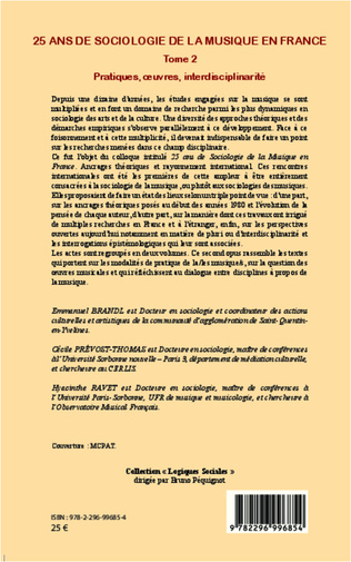 4eme 25 ans de sociologie de la musique en France (Tome 2)