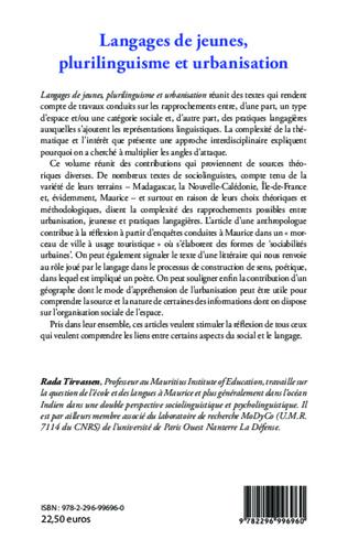 4eme Langages de jeunes, plurilinguisme et urbanisation