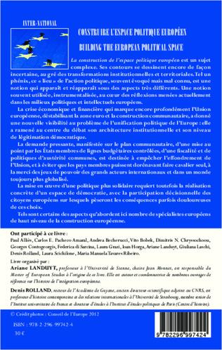 4eme Construire l'espace politique européen Historiographies, politiques et territoires