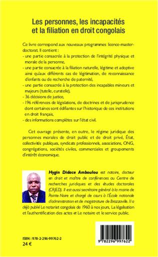 4eme Les personnes, les incapacités et la fialiation en droit congolais
