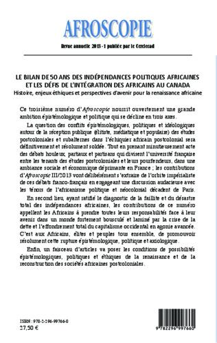 4eme Bilan de 50 ans des indépendances politiques africaines et les défis de l'intégration des africains au Canada