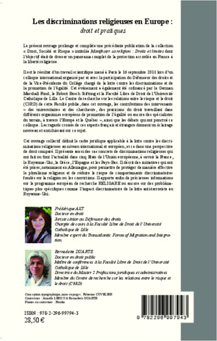 4eme Discriminations religieuses en Europe : droit et pratiques