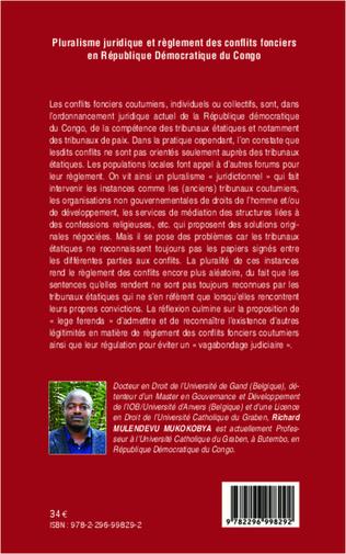 4eme Pluralisme juridique et règlement des conflits fonciers en République Démocratique du Congo