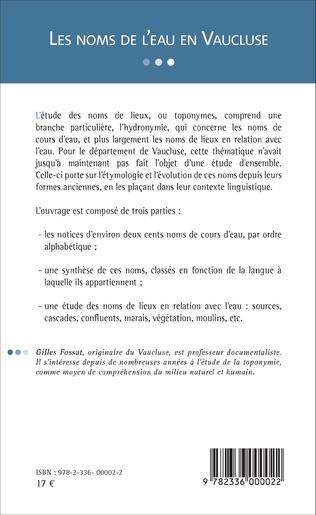 4eme Les noms de l'eau en Vaucluse