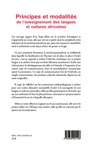 4eme Principes et modalités de l'enseignement des langues et cultures africaines