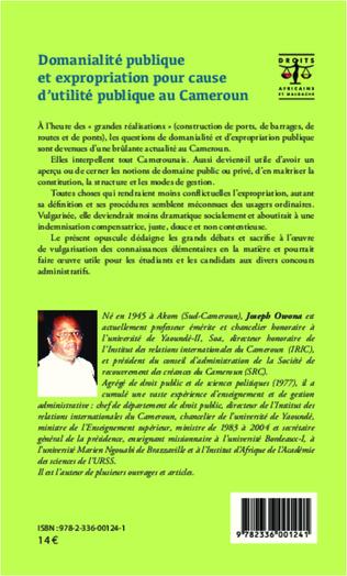 4eme Domanialité publique et expropriation pour cause d'utilité publique au Cameroun