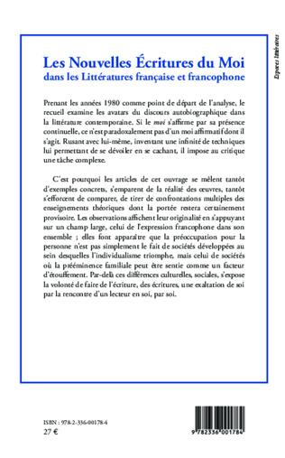 4eme Nouvelles écritures du moi dans les Littératures française et francophone