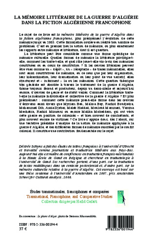 4eme La mémoire littéraire de la guerre d'Algérie dans la fiction algérienne contemporaine