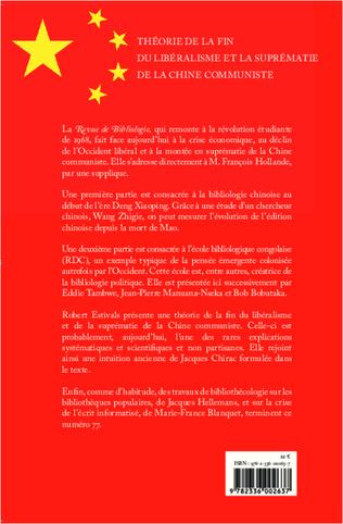 4eme Théorie de la fin du libéralisme et la suprématie de la Chine communiste