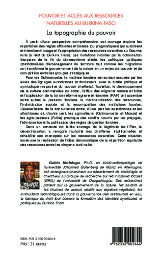 4eme Pouvoir et accès aux ressources naturelles au Burkina Faso