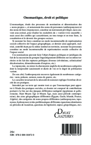 4eme Onomastique, droit et politique