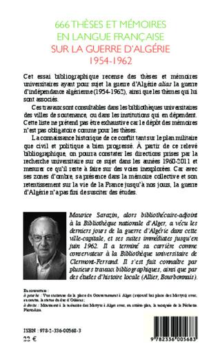4eme 666 thèses et mémoires en langue française sur la guerre d'Algérie 1954-1962