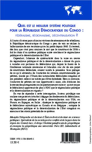 4eme Quel est le meilleur système politique pour la République Démocratique du Congo : fédéralisme, régionalisme, décentralisation ?