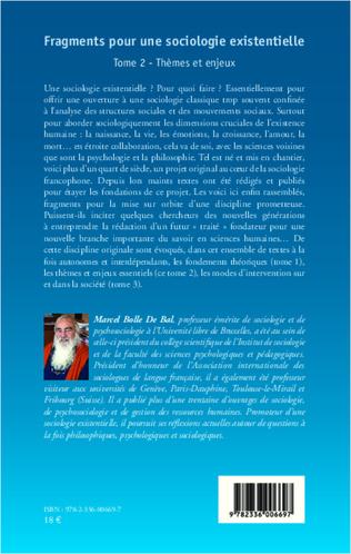 4eme Fragments pour une sociologie existentielle (Tome 2)