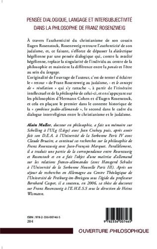 4eme Pensée dialogique, langage et intersubjectivité dans la philosophie de Franz Rosenzweig