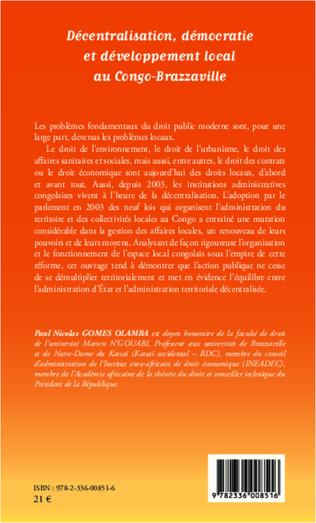 4eme Décentralisation, démocratie et développement local au Congo-Brazzaville