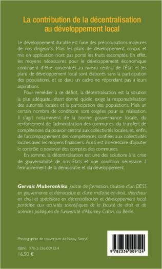 4eme La contribution de la décentralisation au développement local