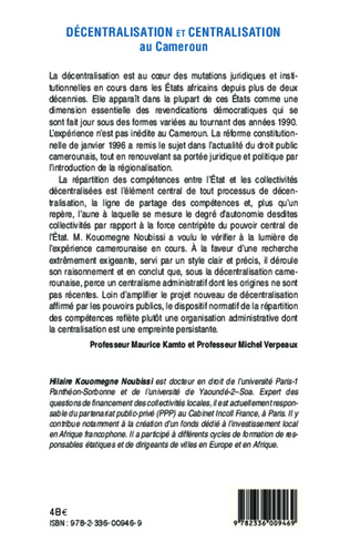 4eme Décentralisation et centralisation au Cameroun