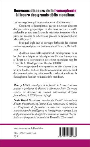 4eme Nouveaux discours de la francophonie à l'heure des grands défis mondiaux