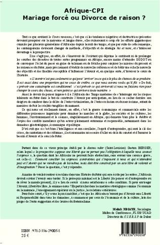 4eme Afrique-CPI Mariage forcé ou divorce de raison ?