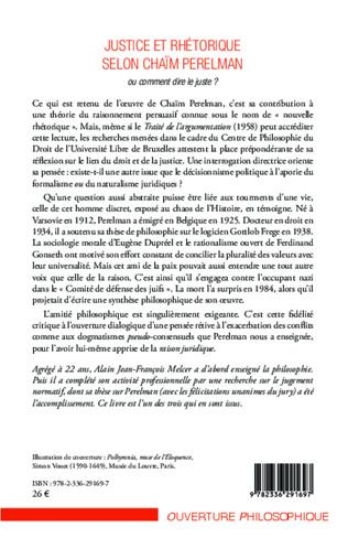 4eme Justice et rhétorique selon Chaïm Perelman