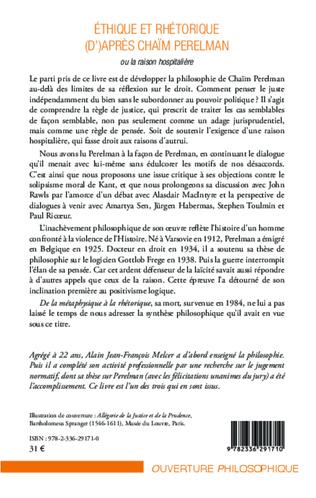 4eme Ethique et rhétorique (d')après Chaïm Perelman