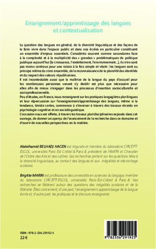4eme Enseignement/apprentissage des langues et contextualisation