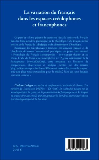 4eme La variation du français dans les espaces créolophones et francophones (Tome 1)